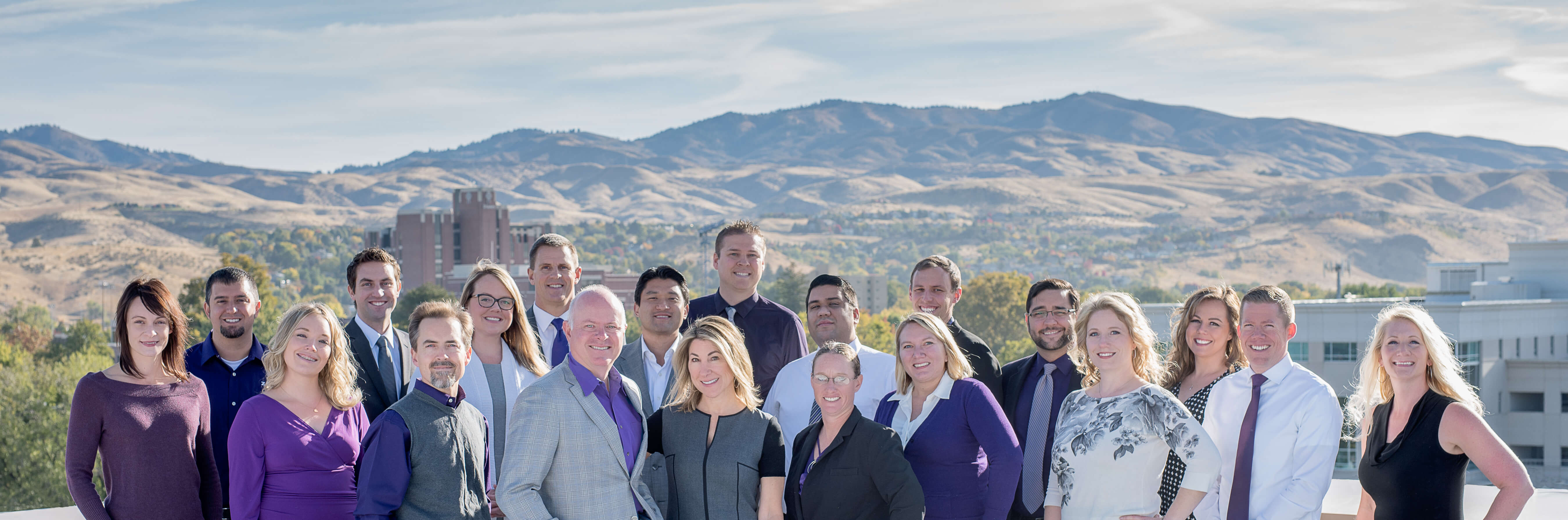 Zasio company photo with all our employees and beautiful Boise Idaho in the background